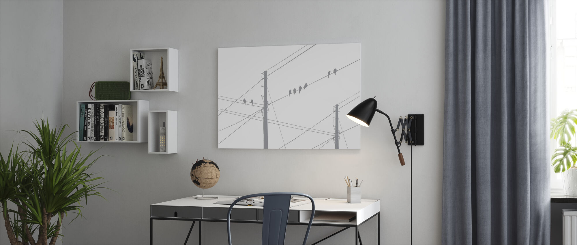 Powerlines - Grigio - Stampa su tela - Uffici
