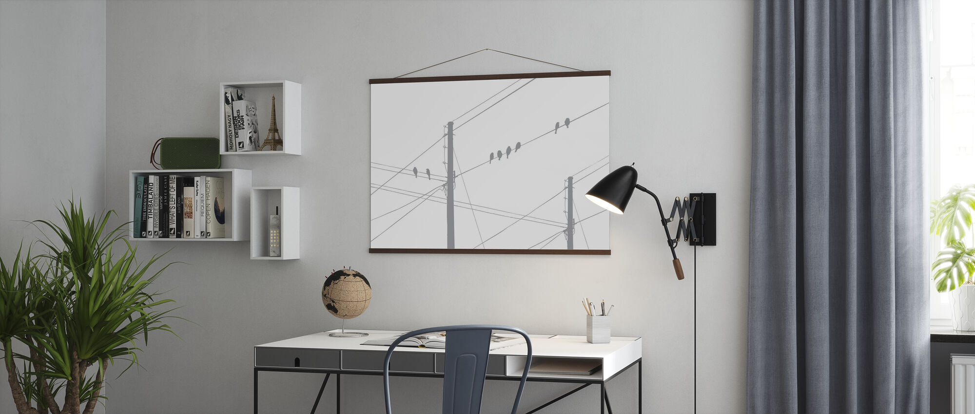 Powerlines - Grey - Poster - Office