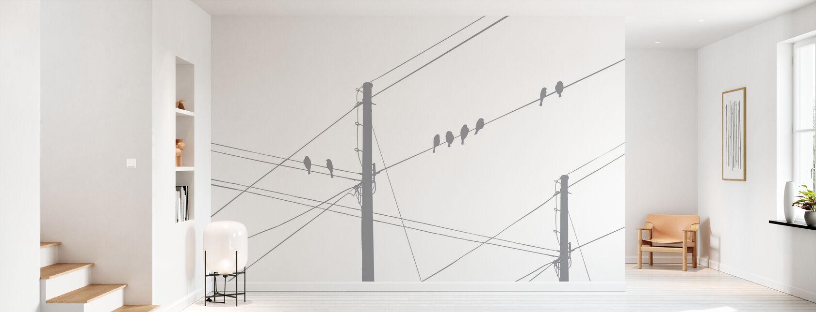 Powerlines - Grey - Wallpaper - Hallway