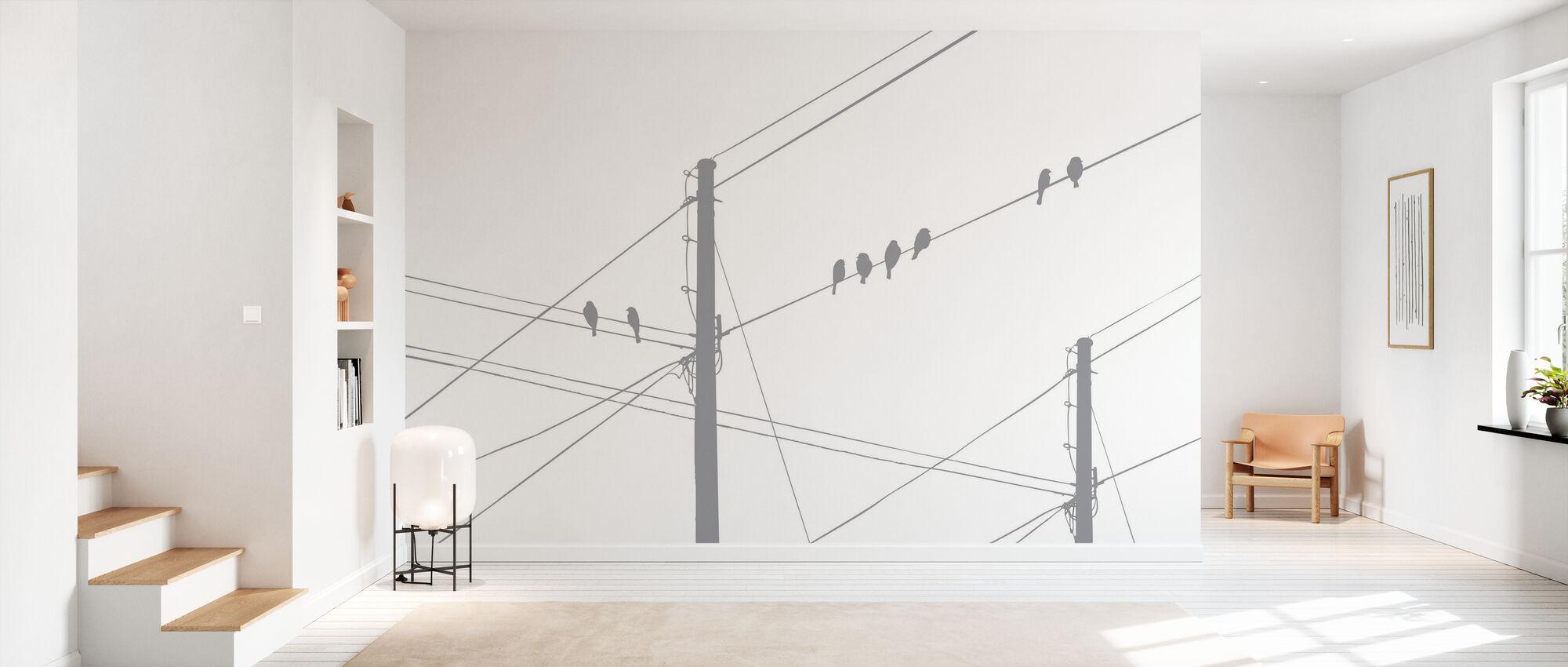 Powerlines - Grey - Behang - Gang