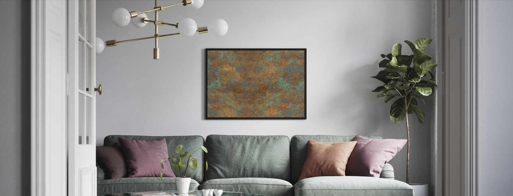 Vintage Bronzen Achtergrond - Ingelijste print - Woonkamer