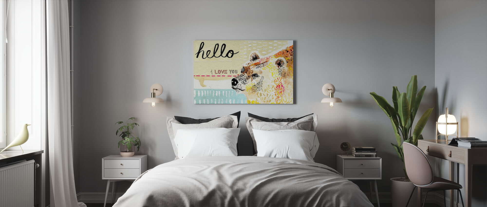 Hello I Love You - Canvas print - Bedroom