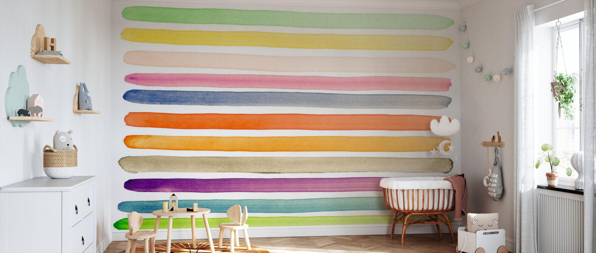 Watercolor Stripes - Wallpaper - Nursery