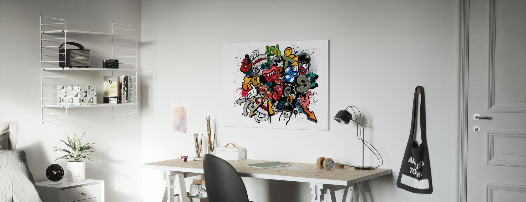 Eléments Graffiti - Impression sur toile - Chambre des enfants