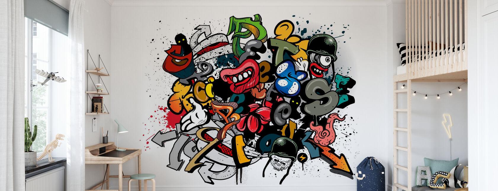 Elementy graffiti - Tapeta - Pokój dziecięcy