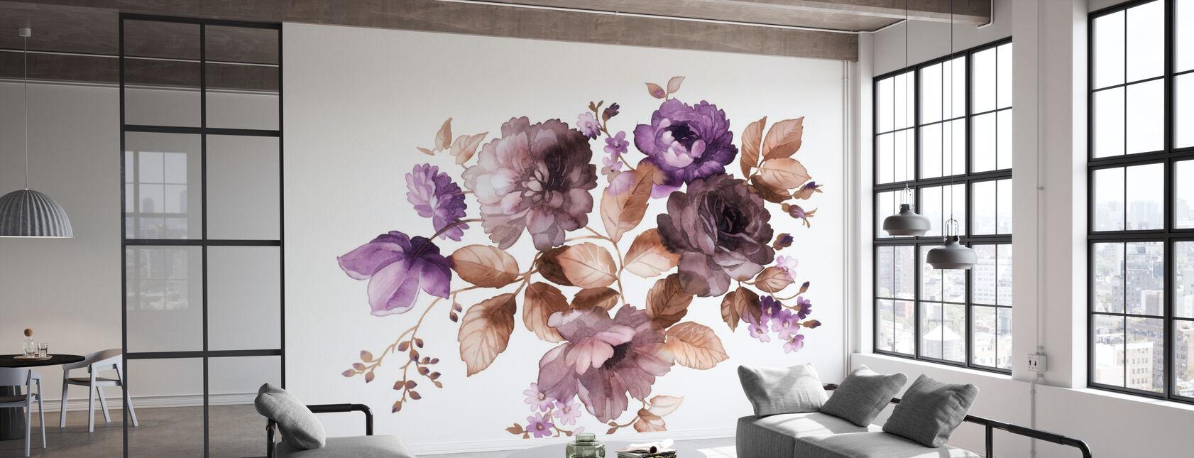 Bloemen in Aquarel - Behang - Kantoor