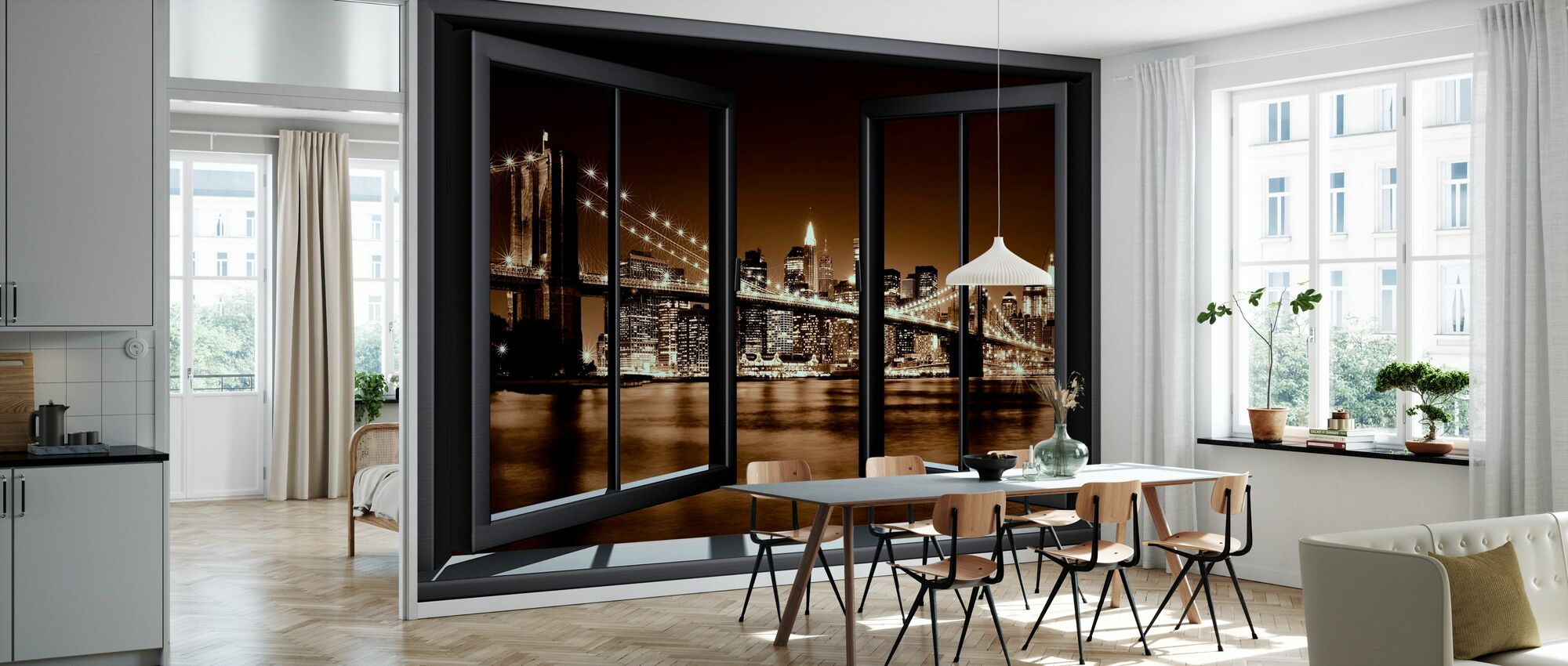 Brooklyn Bridge through Window - Yellow - Wallpaper - Kitchen