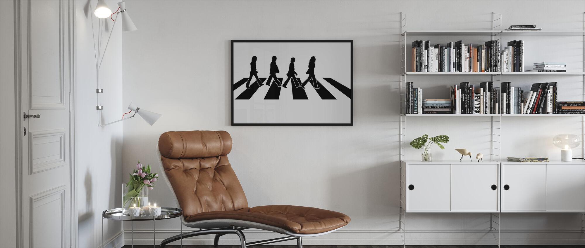 Beatles - Abbey Road kuvitus - Kehystetty kuva - Olohuone