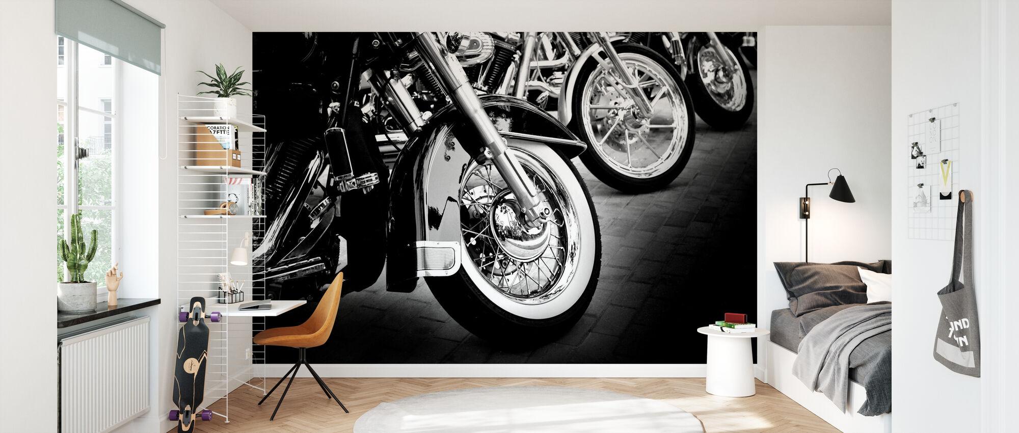 Bikes in a Row - Wallpaper - Kids Room
