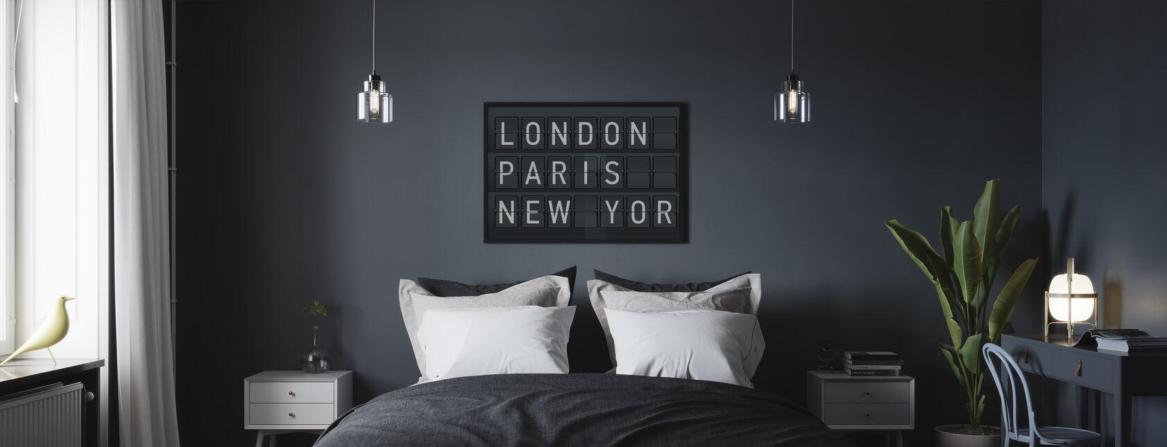 Lontoo - Pariisi - New York - Kehystetty kuva - Makuuhuone