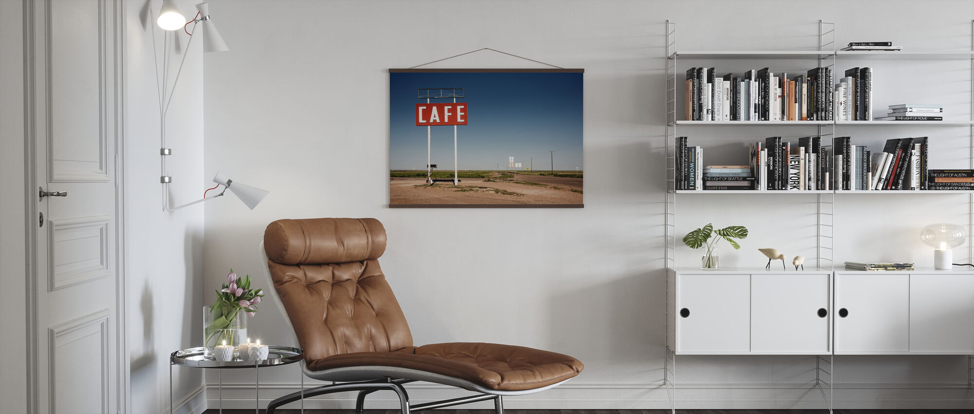 Cafe Sign Route 66 - Poster - Living Room