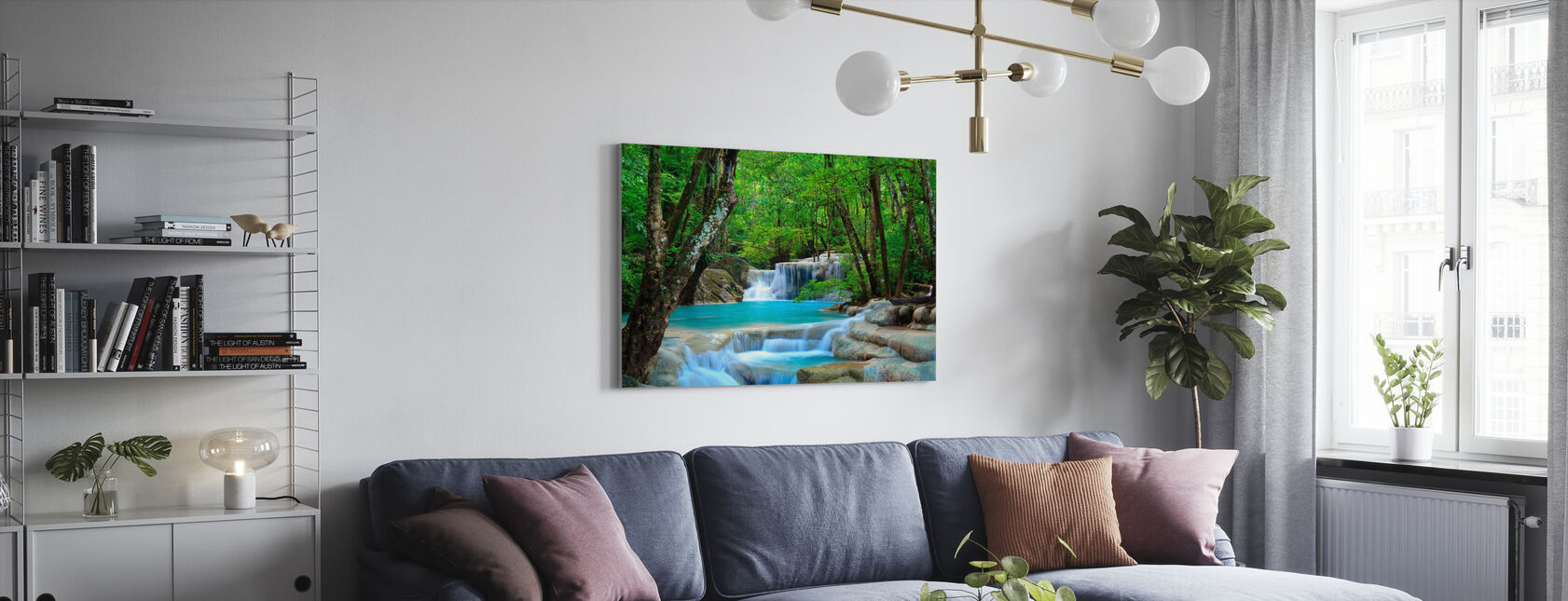 Erawan Waterfall Thailand - Canvas print - Living Room