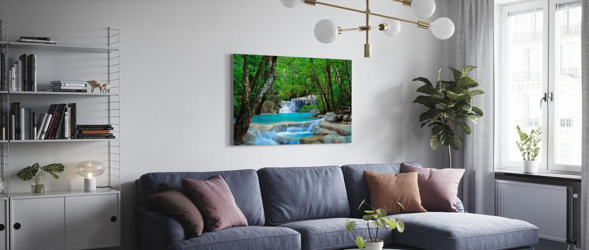 Erawan Waterval Thailand - Canvas print - Woonkamer
