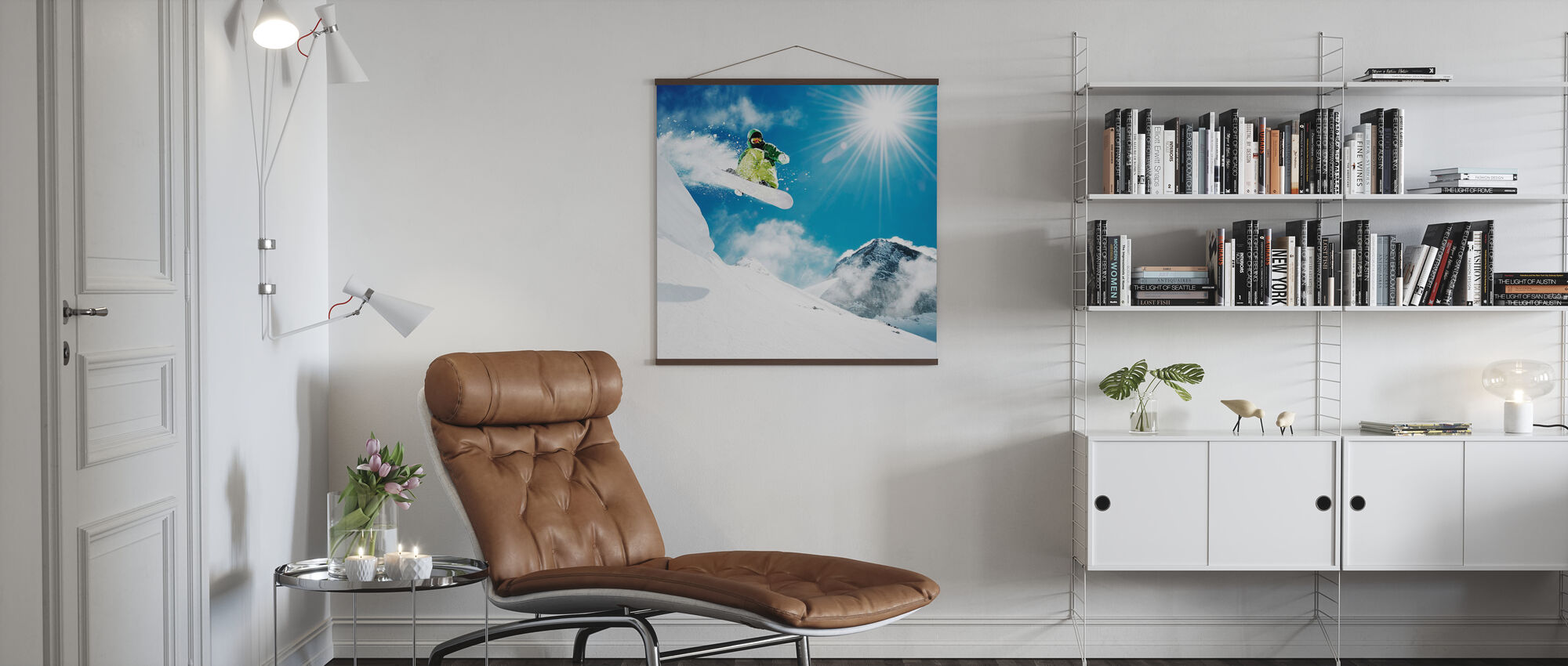 Snowboarder at Jump - Poster - Living Room