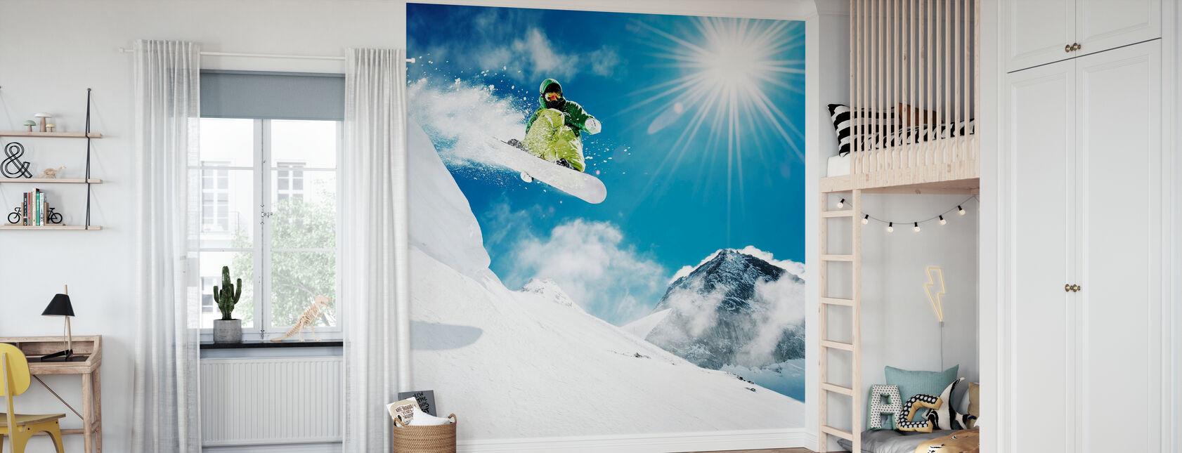 Snowboarder at Jump - Wallpaper - Kids Room