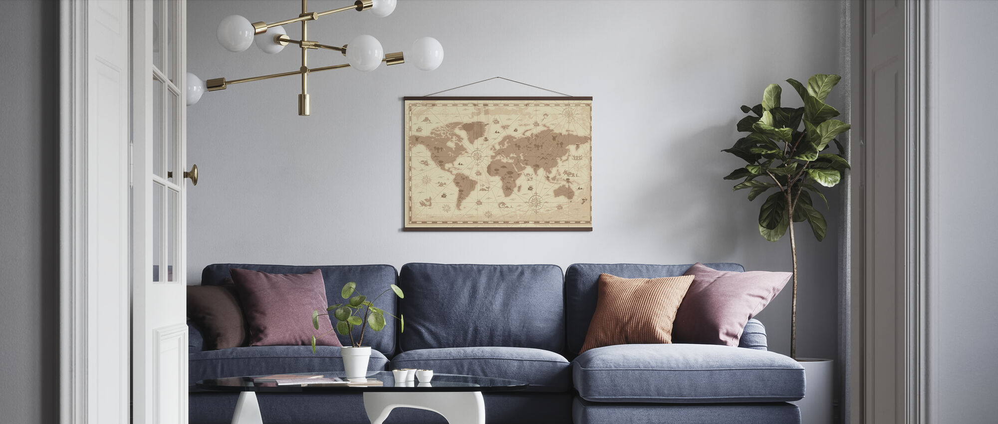World Map - Styled - Poster - Living Room