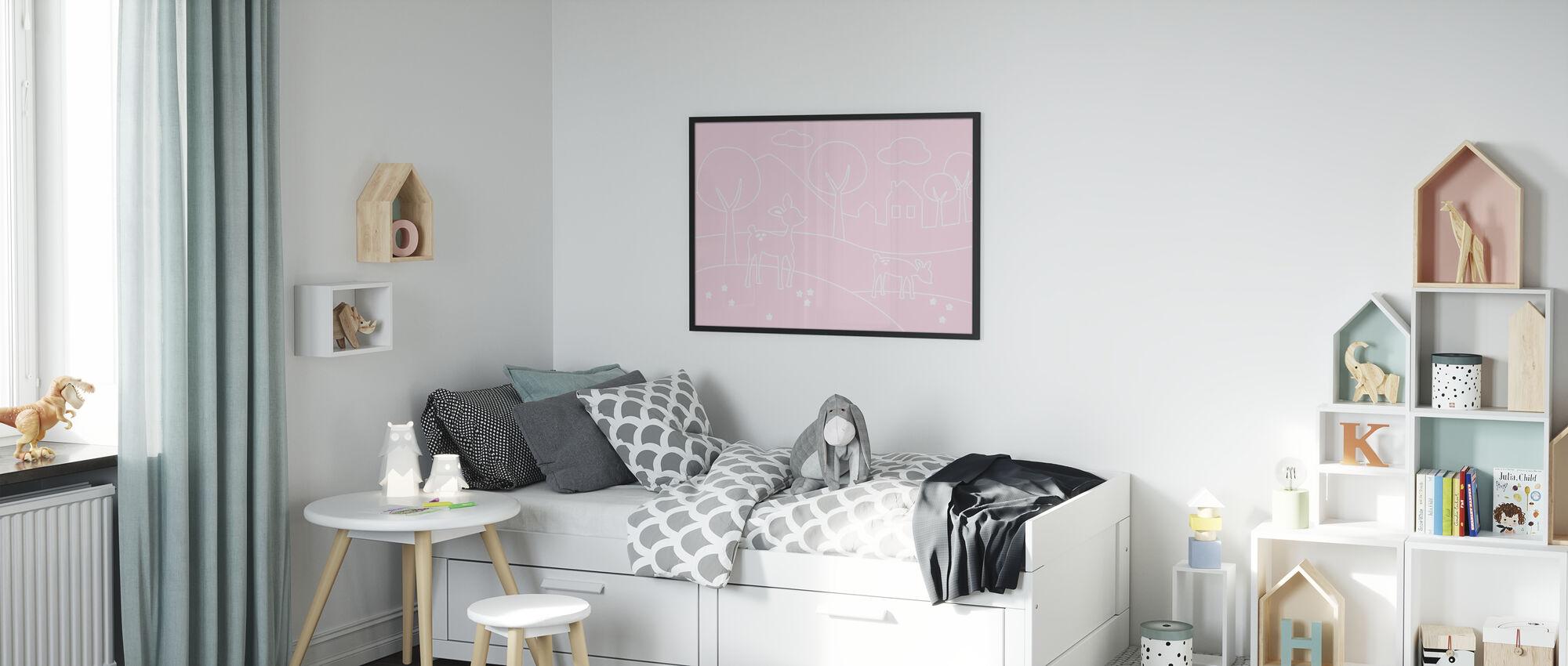 Herten Wereld Lijnen - roze - Ingelijste print - Kinderkamer