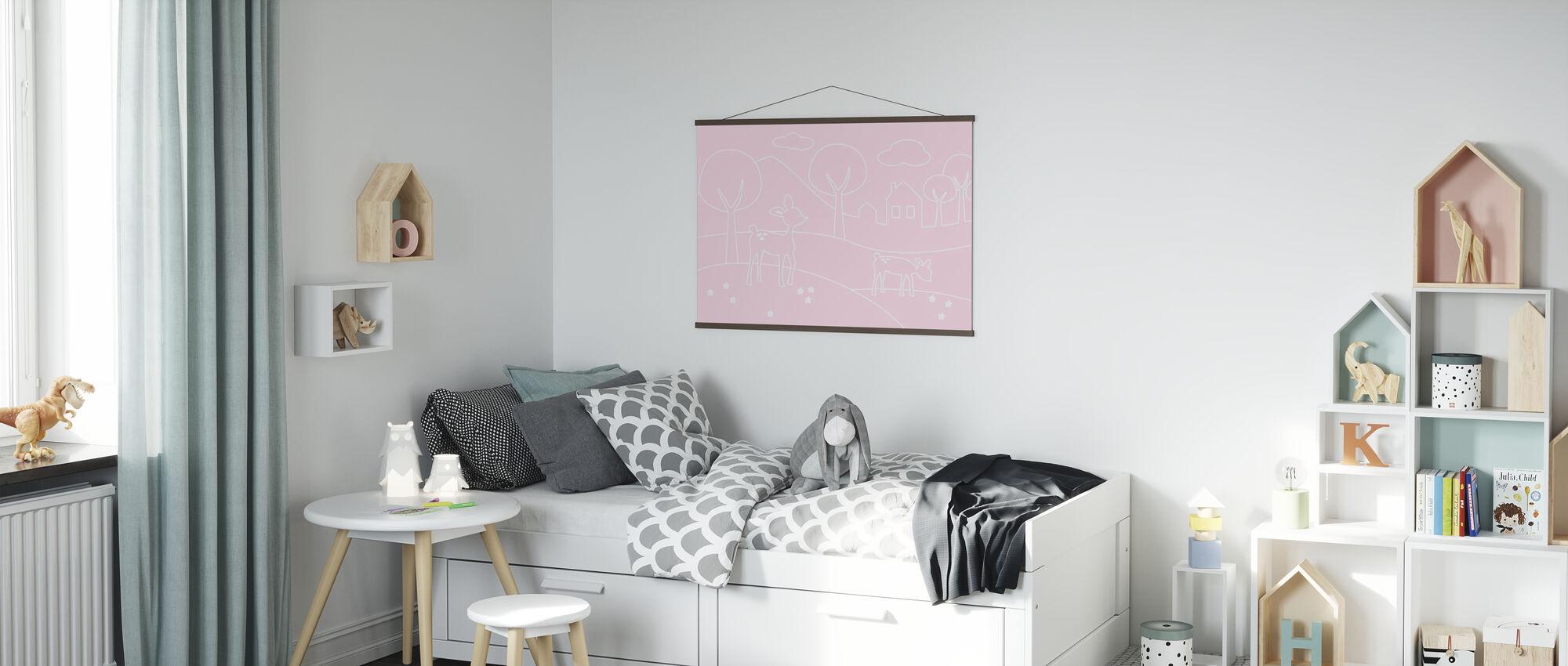 Herten Wereld Lijnen - roze - Poster - Kinderkamer