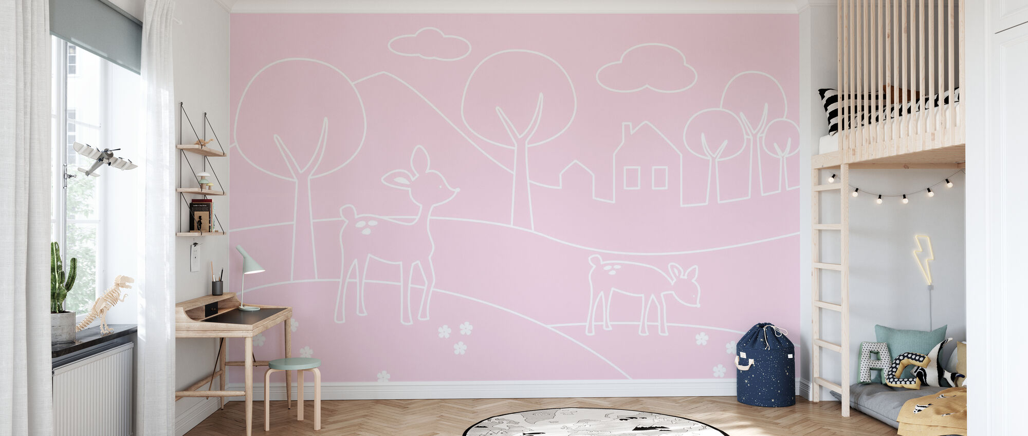 Deer World Lines - pink - Wallpaper - Kids Room