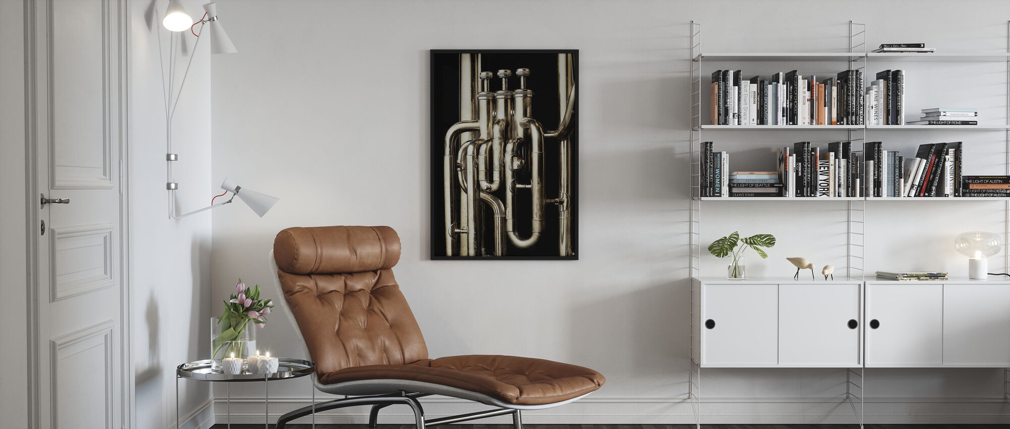 Messing Hoorn - Tuba - Ingelijste print - Woonkamer