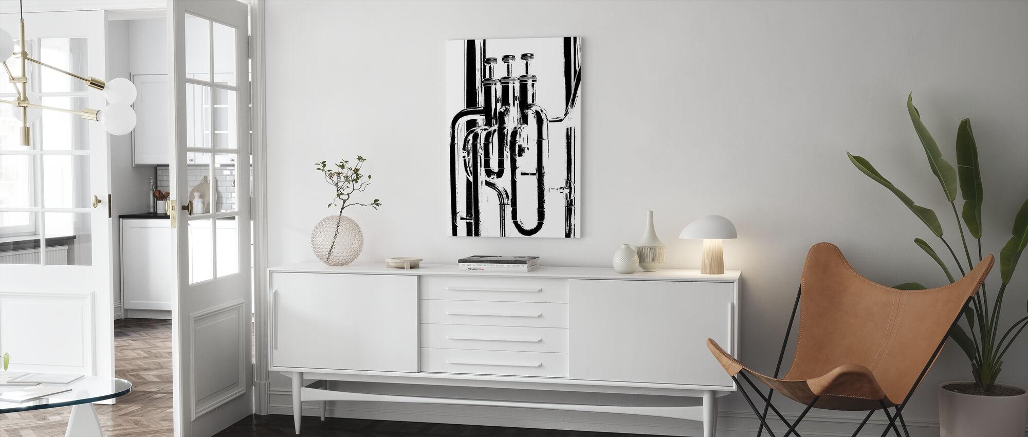 Messing Horn Graphic - Tuba - Lerretsbilde - Stue