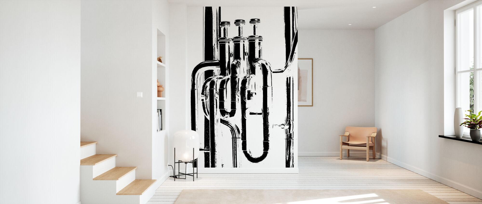 Corne de laiton Graphique - Tuba - Papier peint - Entrée