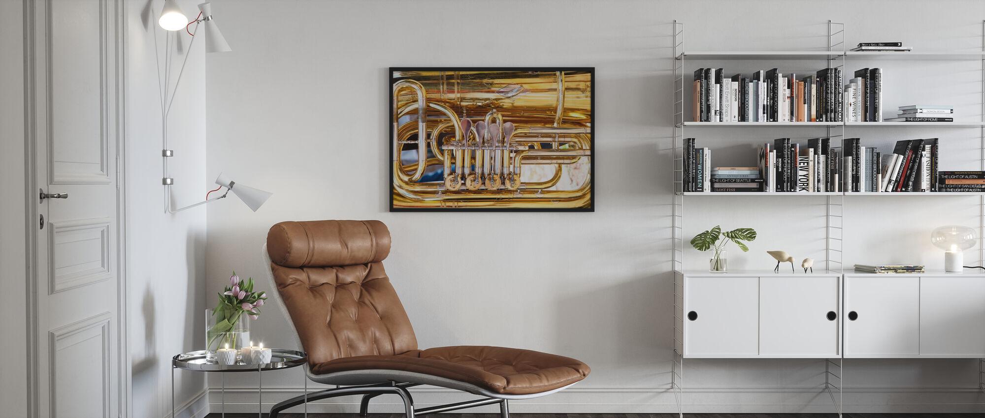 Messinkiäänitorven venttiili - Tuuba - Kehystetty kuva - Olohuone