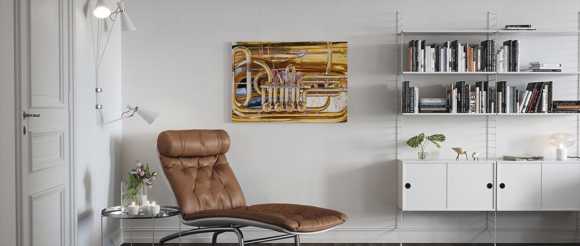 Messing Hoornklep - Tuba - Canvas print - Woonkamer