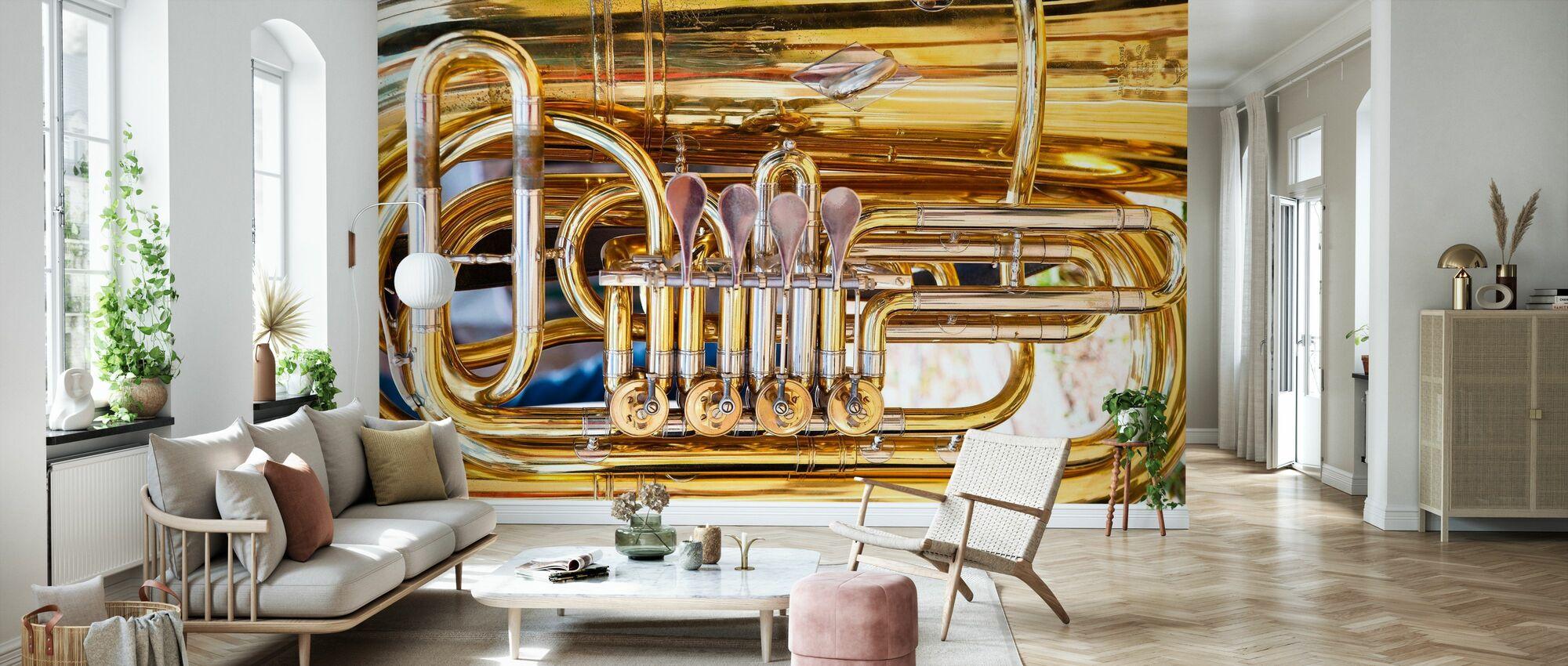 Valve pour corne laiton - Tuba - Papier peint - Salle à manger