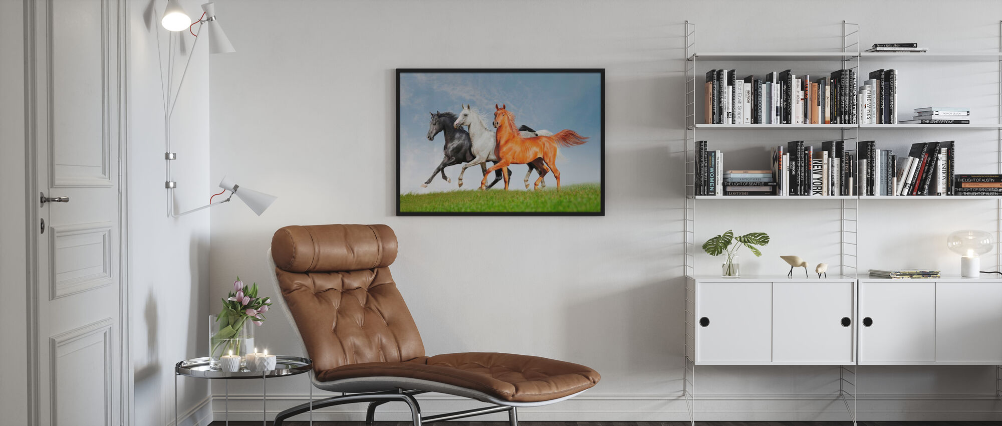 Arabiska hästar springa gratis - Inramad tavla - Vardagsrum