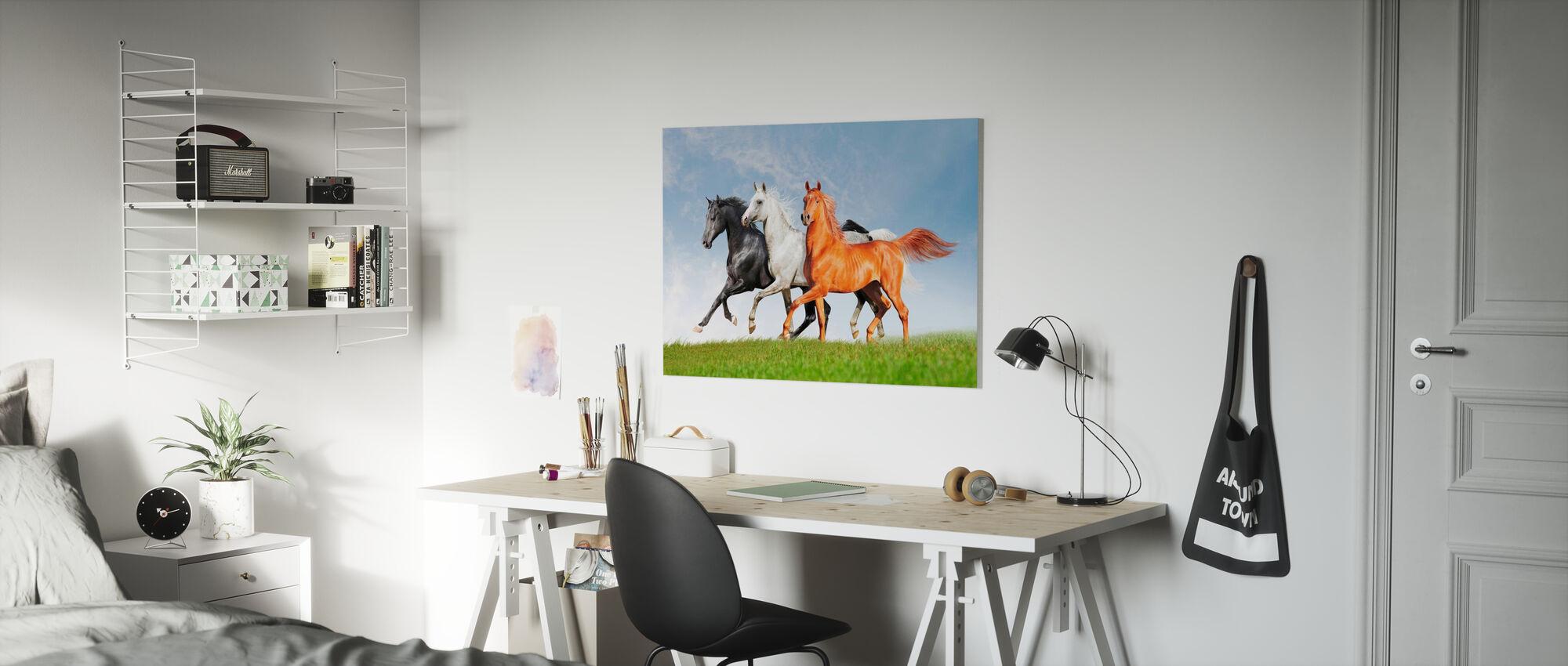 Arabiske hester kjøre gratis - Lerretsbilde - Barnerom