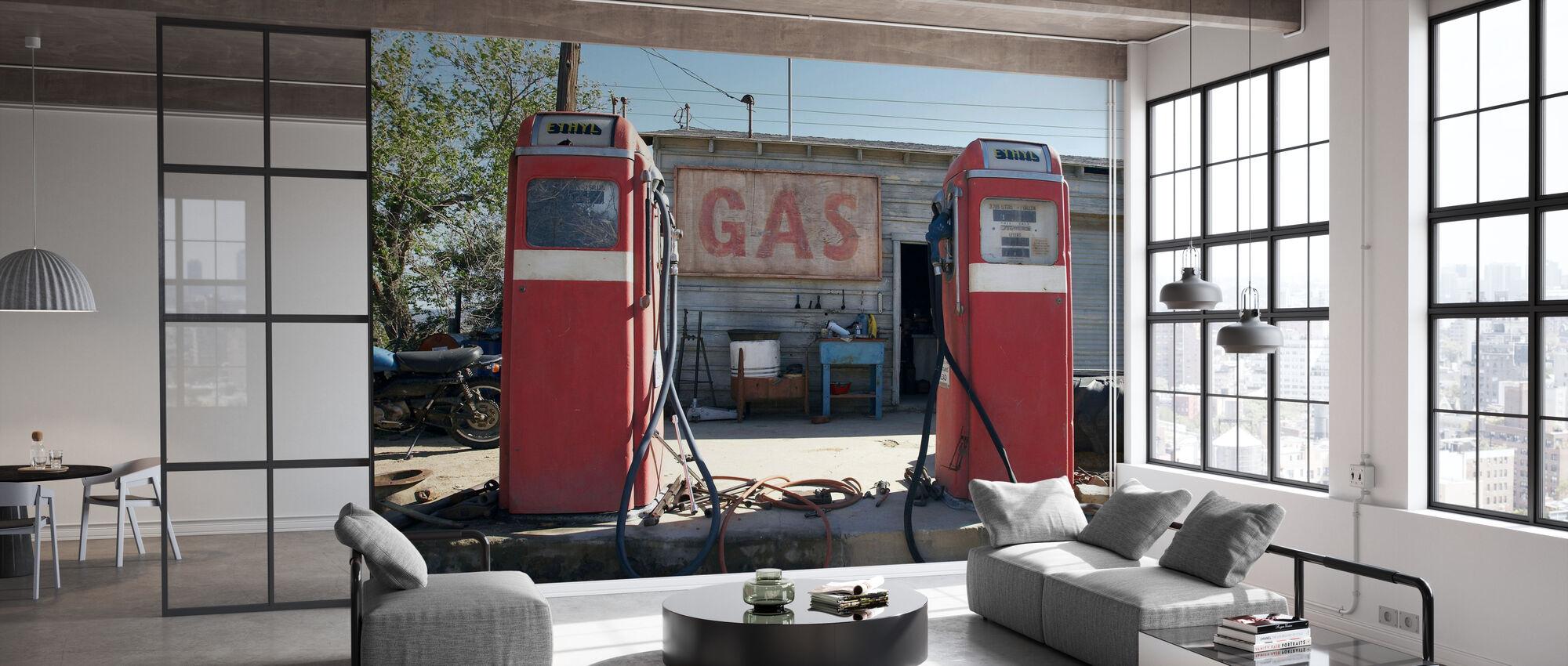 Retro Gaspompen - Behang - Kantoor