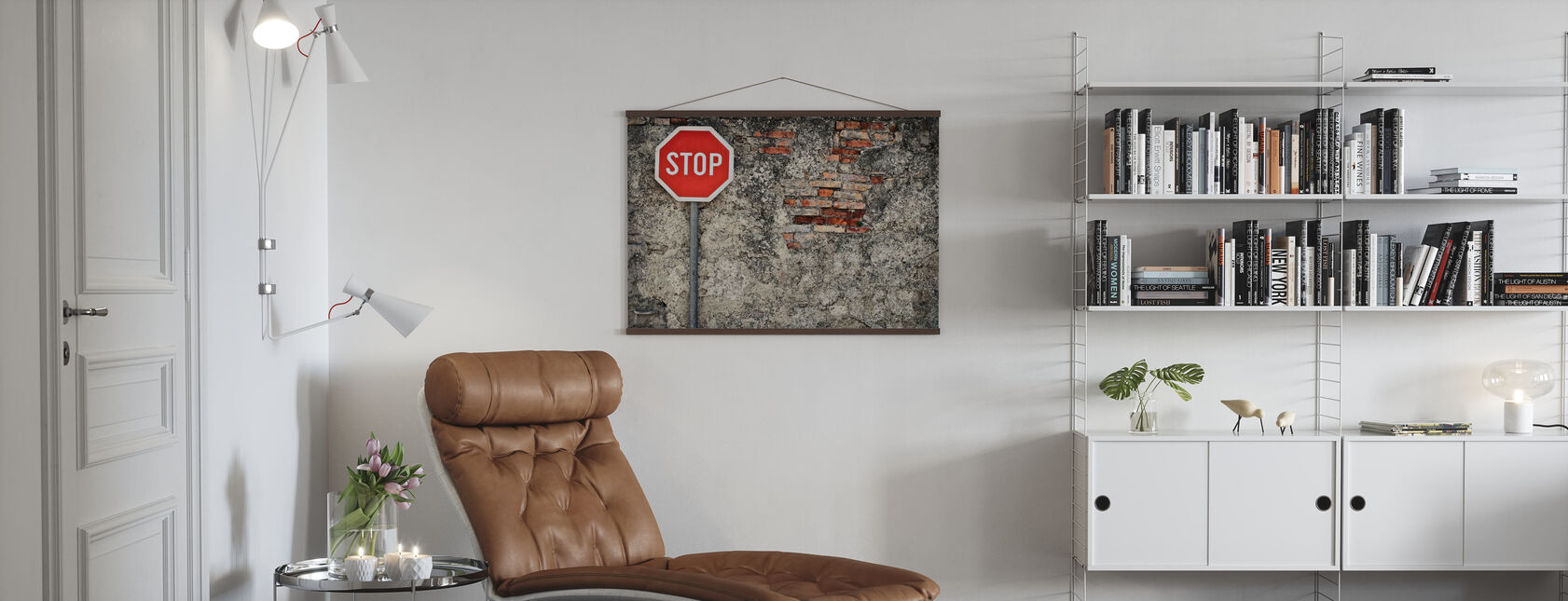 Stop Sign Against Grungy Wall - Poster - Living Room