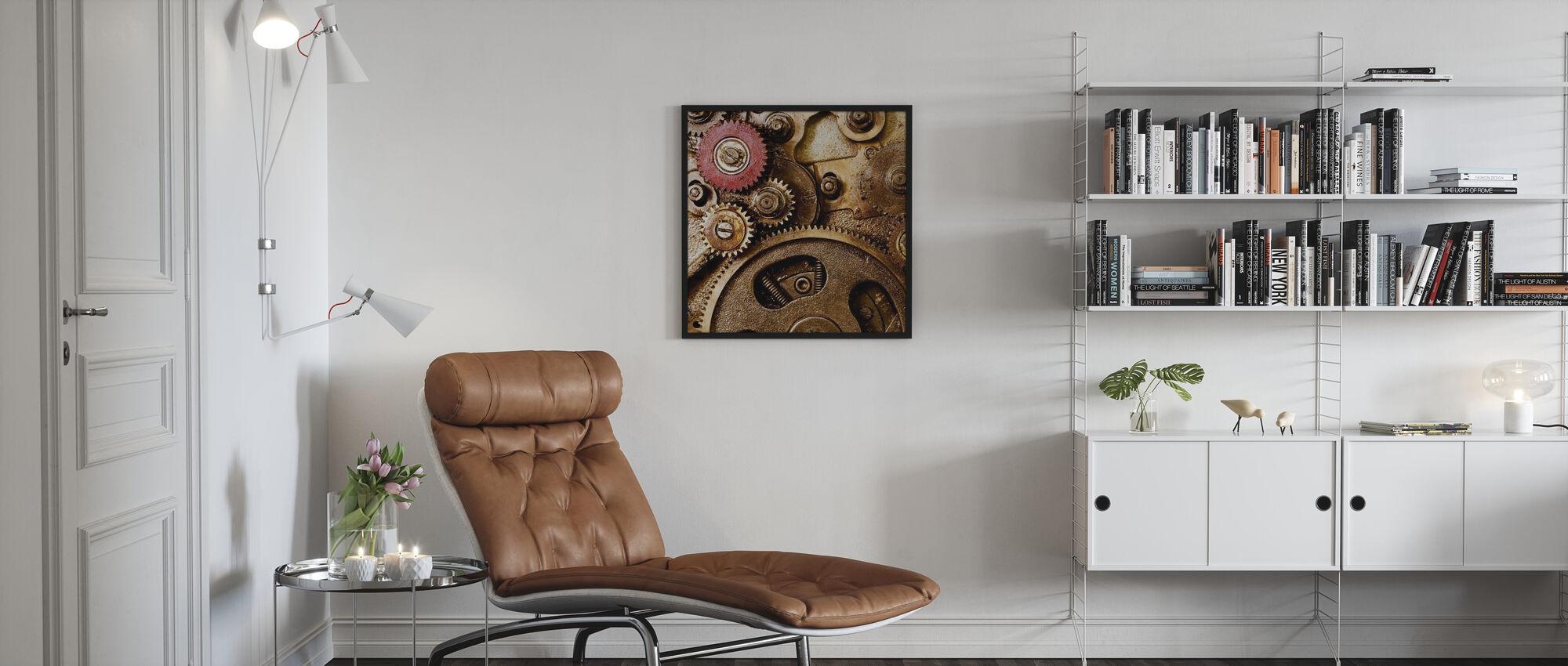 Vintage Getriebe - Gerahmtes bild - Wohnzimmer