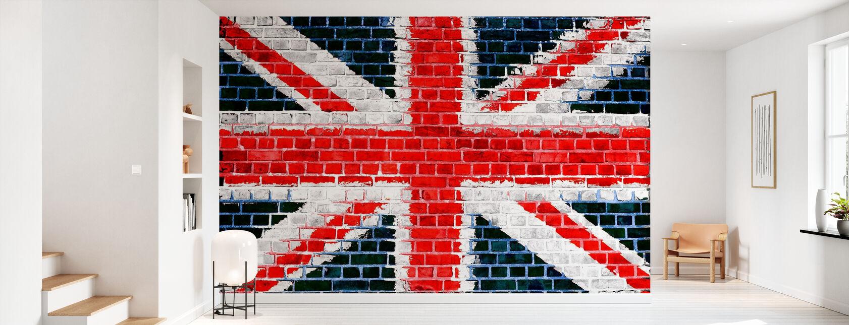 Union Jack Brick Wall - Wallpaper - Hallway