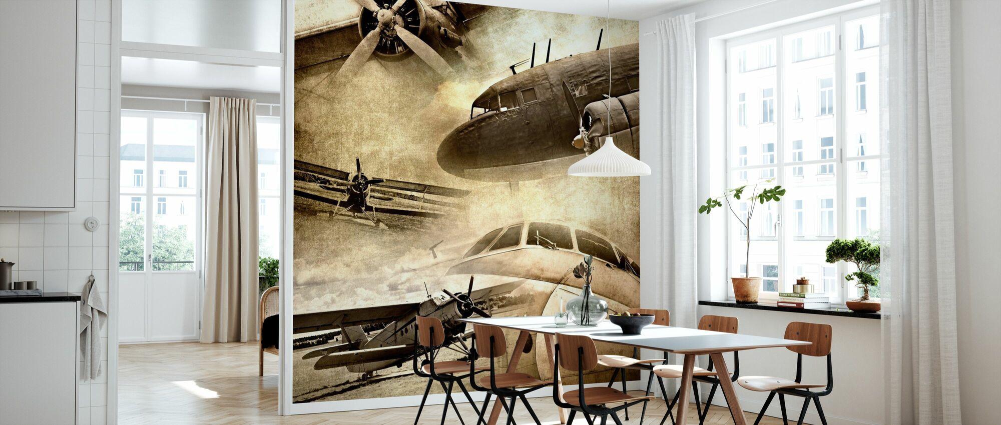 Retro Flugzeuge - Tapete - Küchen