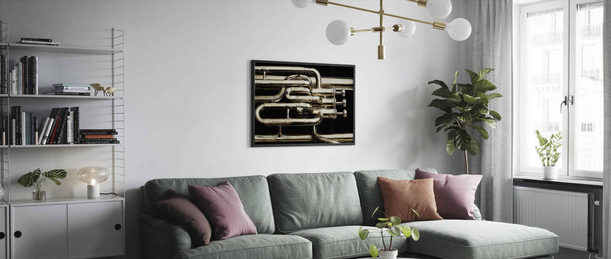 Messing Hoorn - Poster - Woonkamer