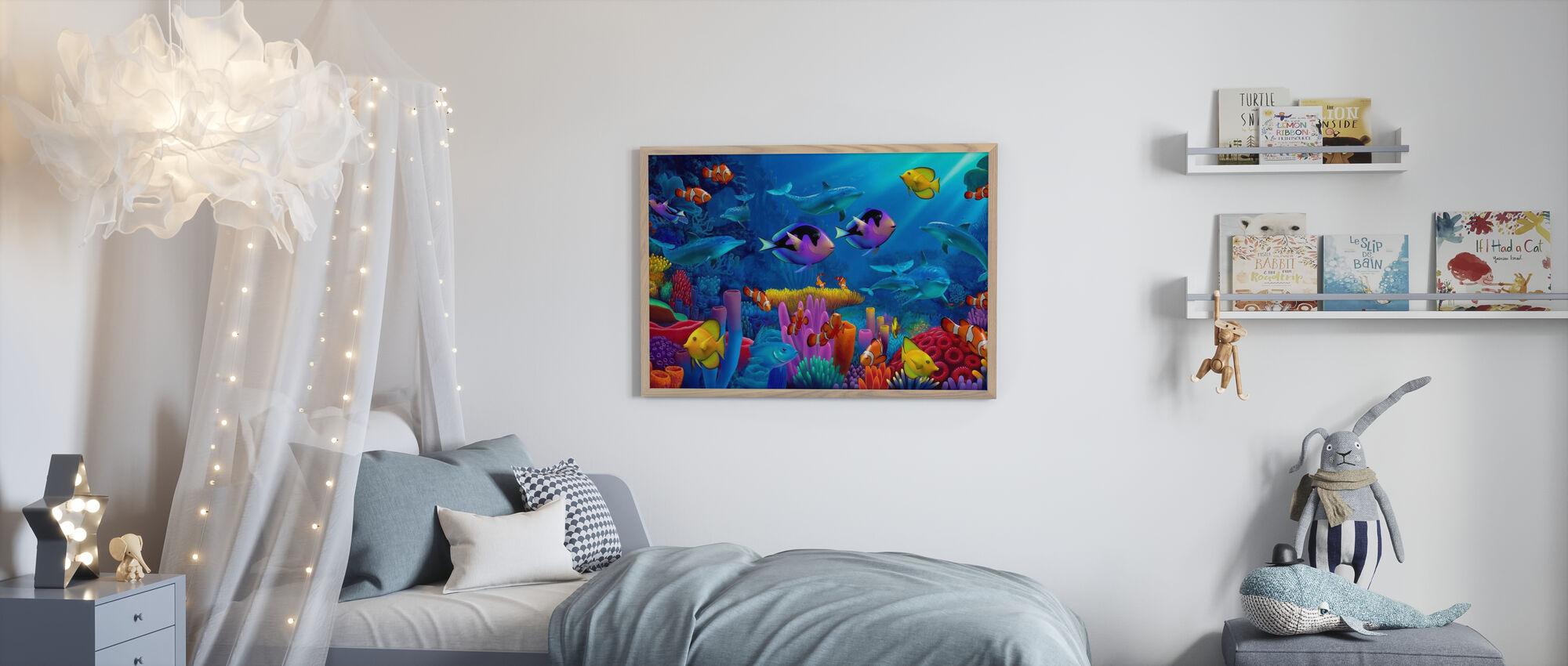 Oceaan van kleur - Ingelijste print - Kinderkamer
