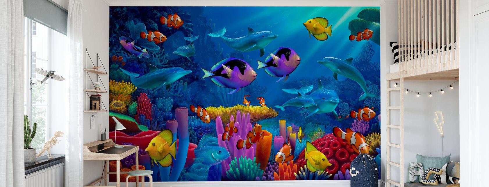 Oceaan van kleur - Behang - Kinderkamer