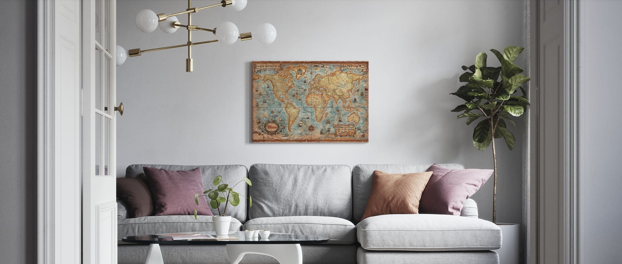Modern World Antique Map - Canvas print - Living Room