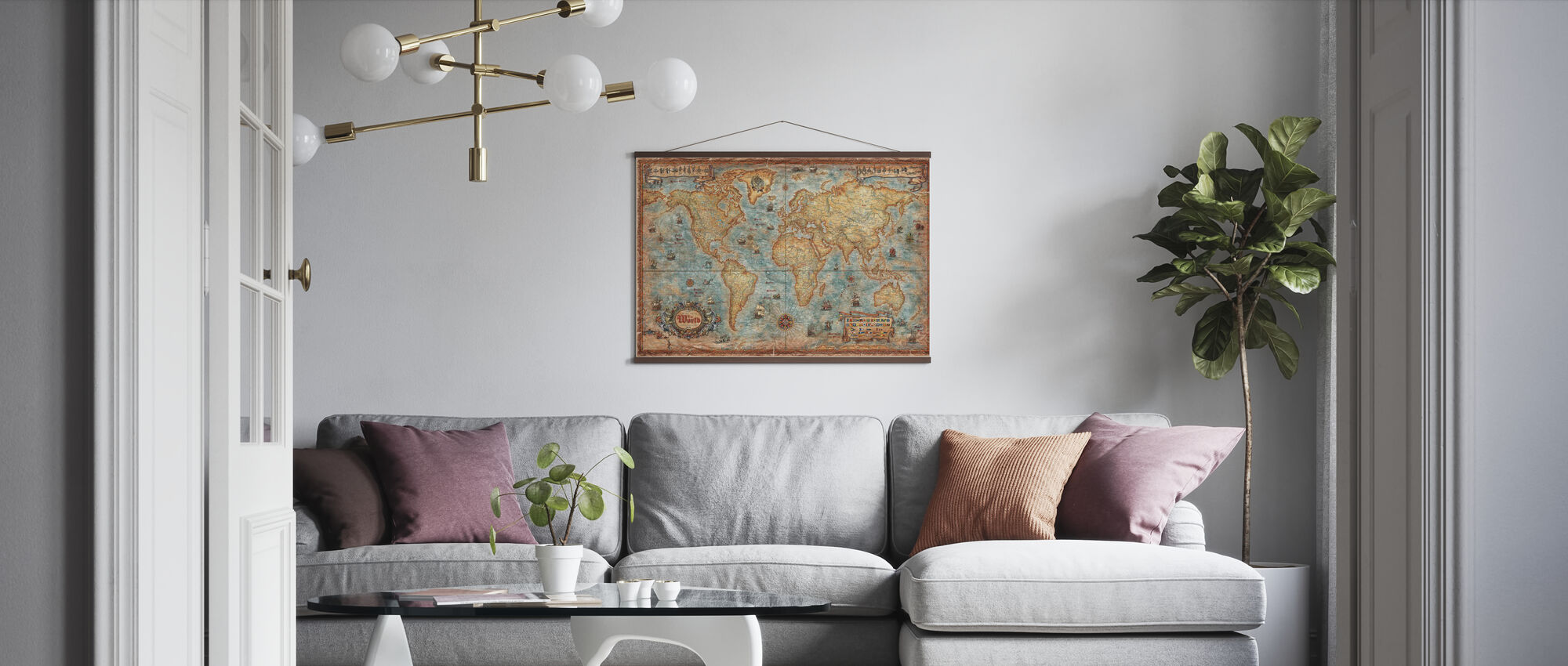 Modern World Antique Map - Poster - Living Room