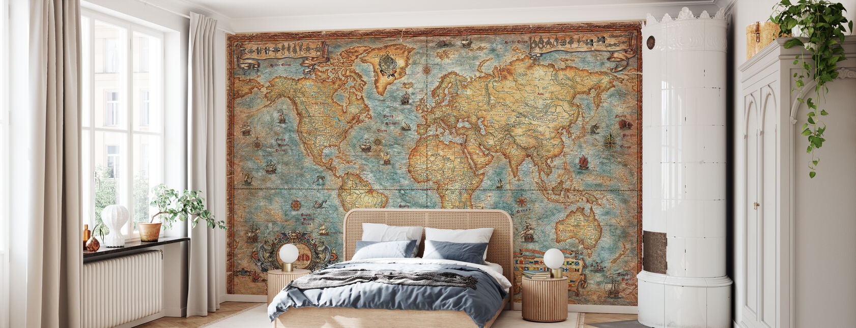 Modern World Antique Map - Wallpaper - Bedroom