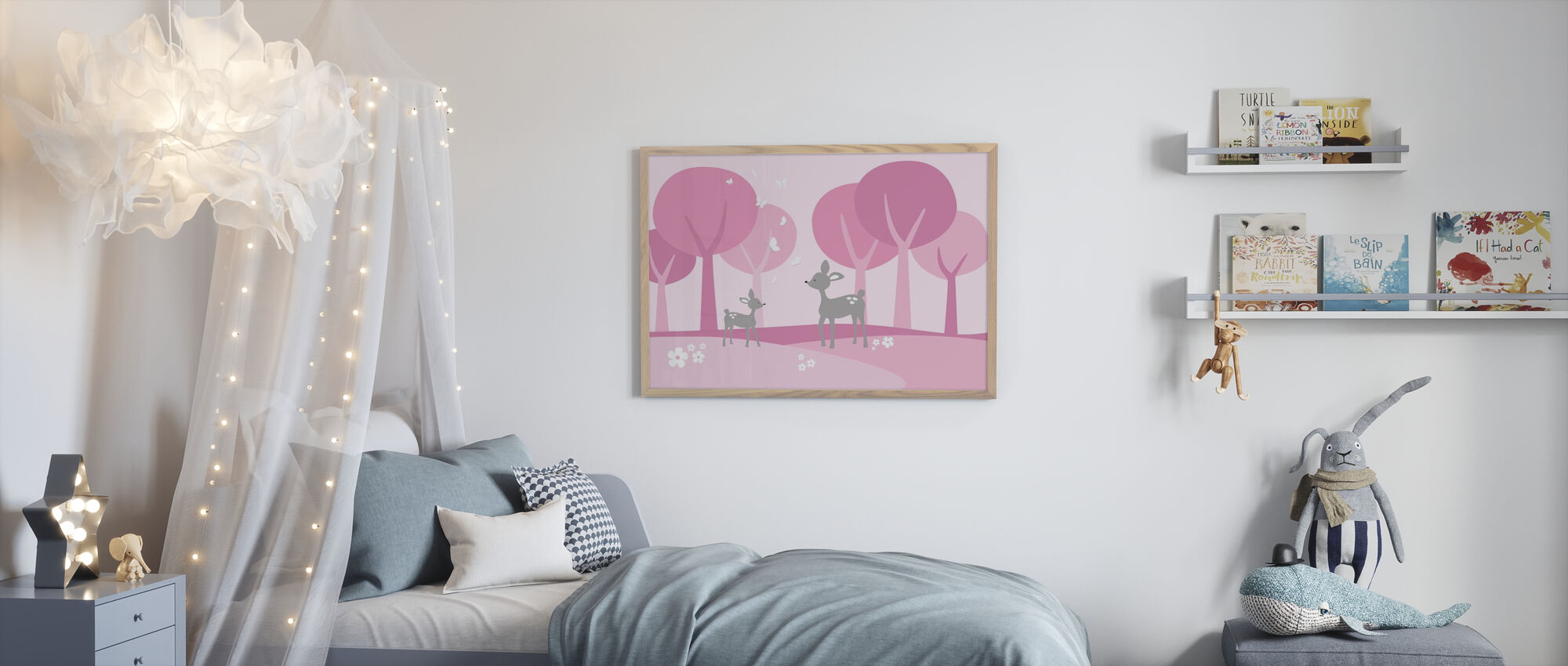 Deer in Woods - Pink - Framed print - Kids Room
