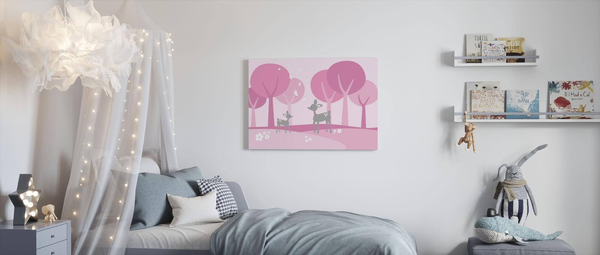 Herten in het bos - Roze - Canvas print - Kinderkamer