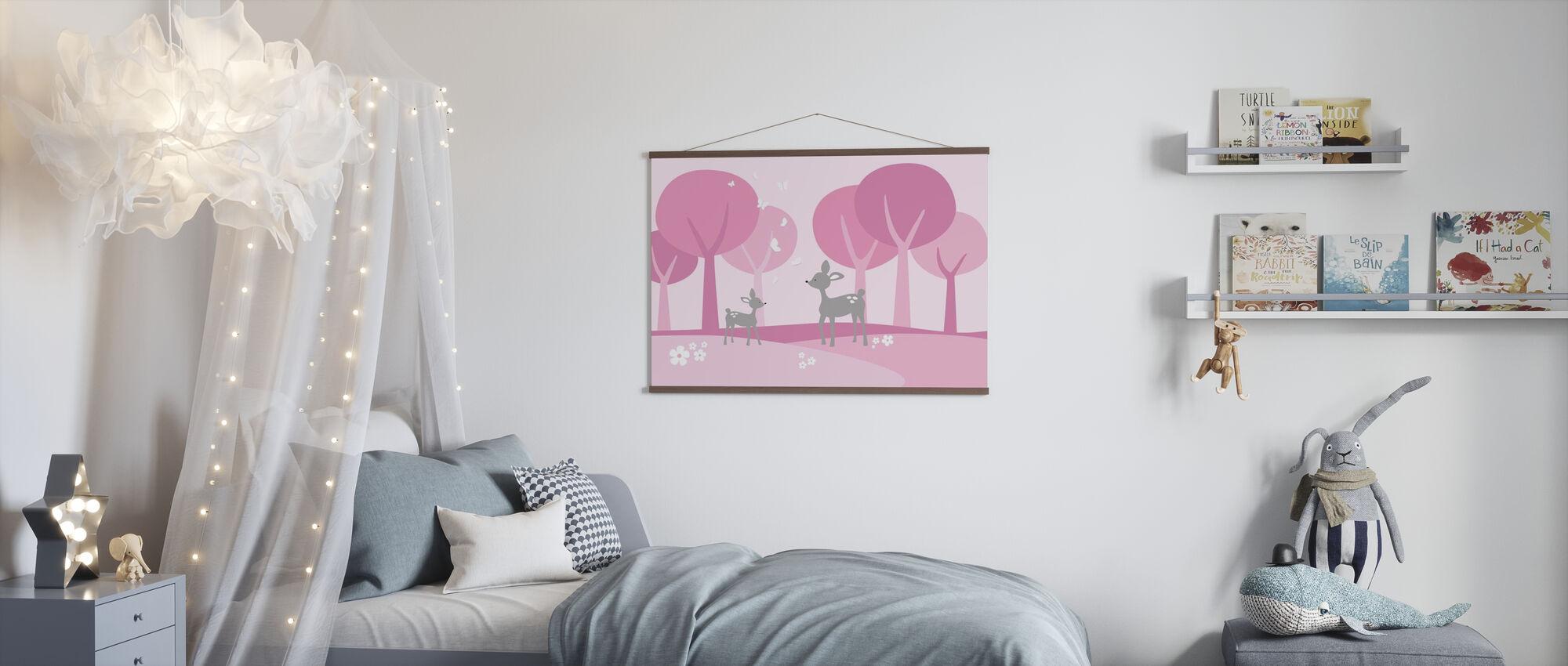Hirsch im Wald - Rosa - Poster - Kinderzimmer