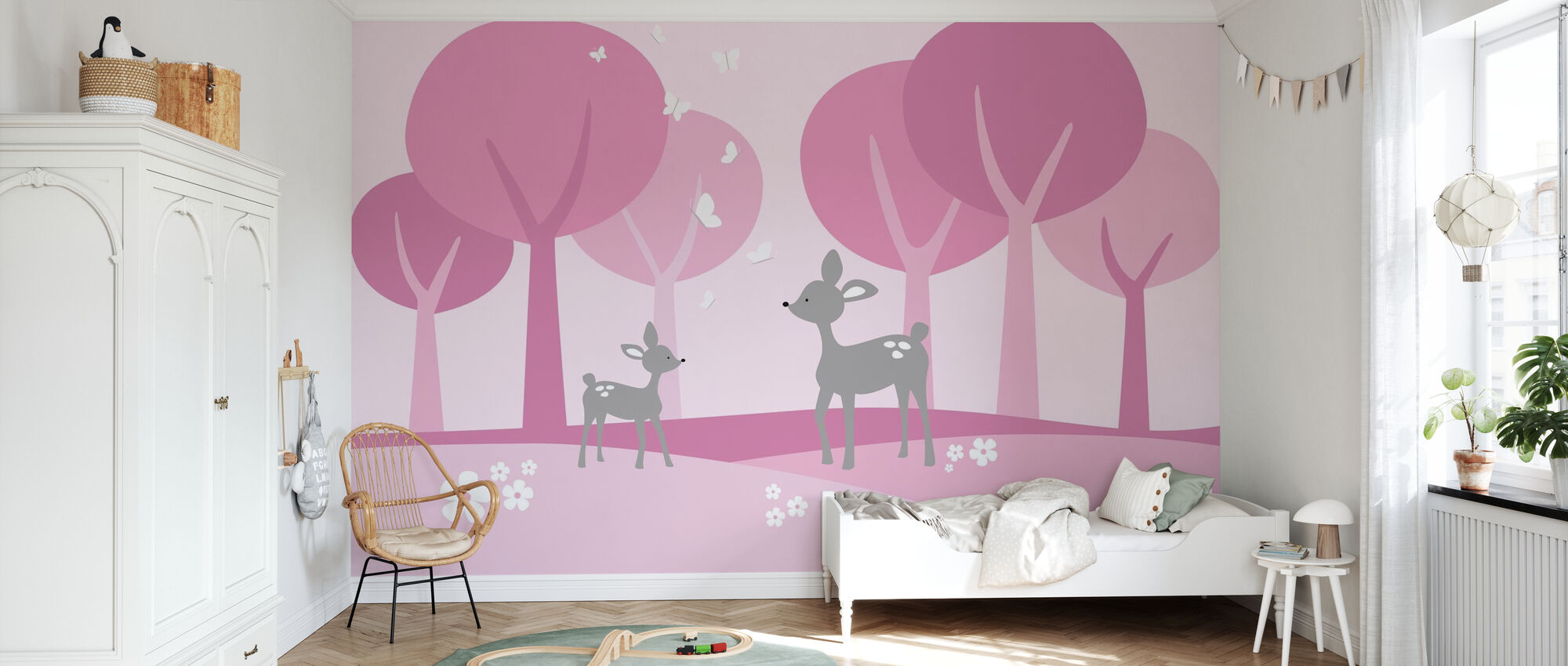 Deer in Woods - Pink - Wallpaper - Kids Room