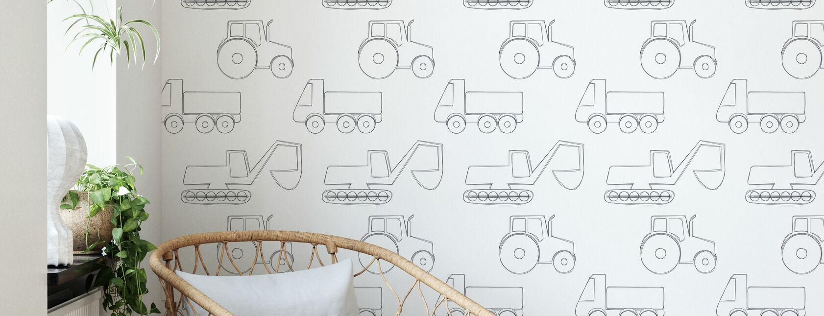 Große Fahrzeuge - Schwarz - Tapete - Wohnzimmer