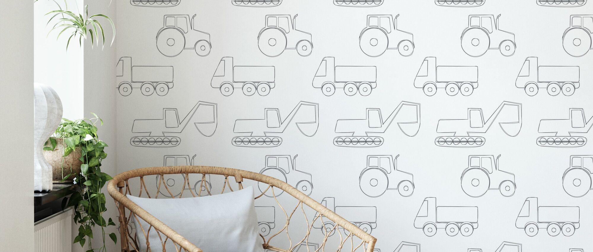 Large Vehicles - Black - Wallpaper - Living Room