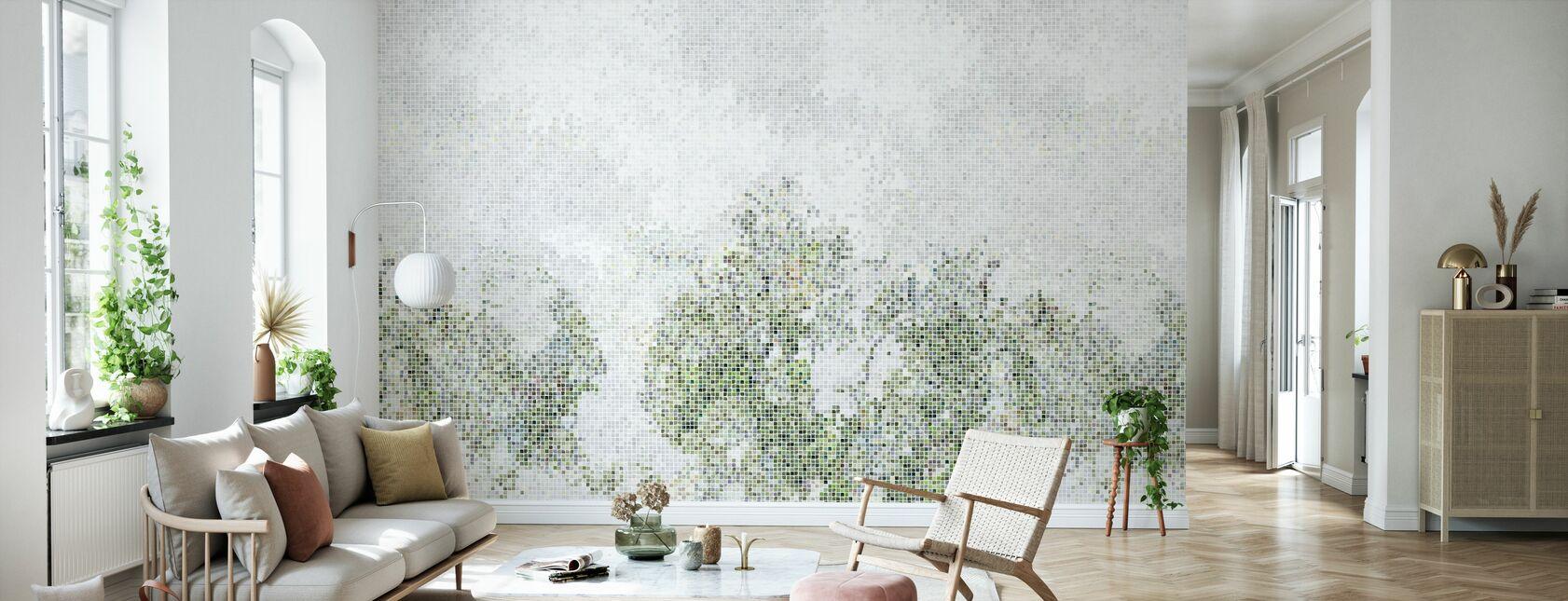 Mosaikk skog - grønn - Tapet - Stue