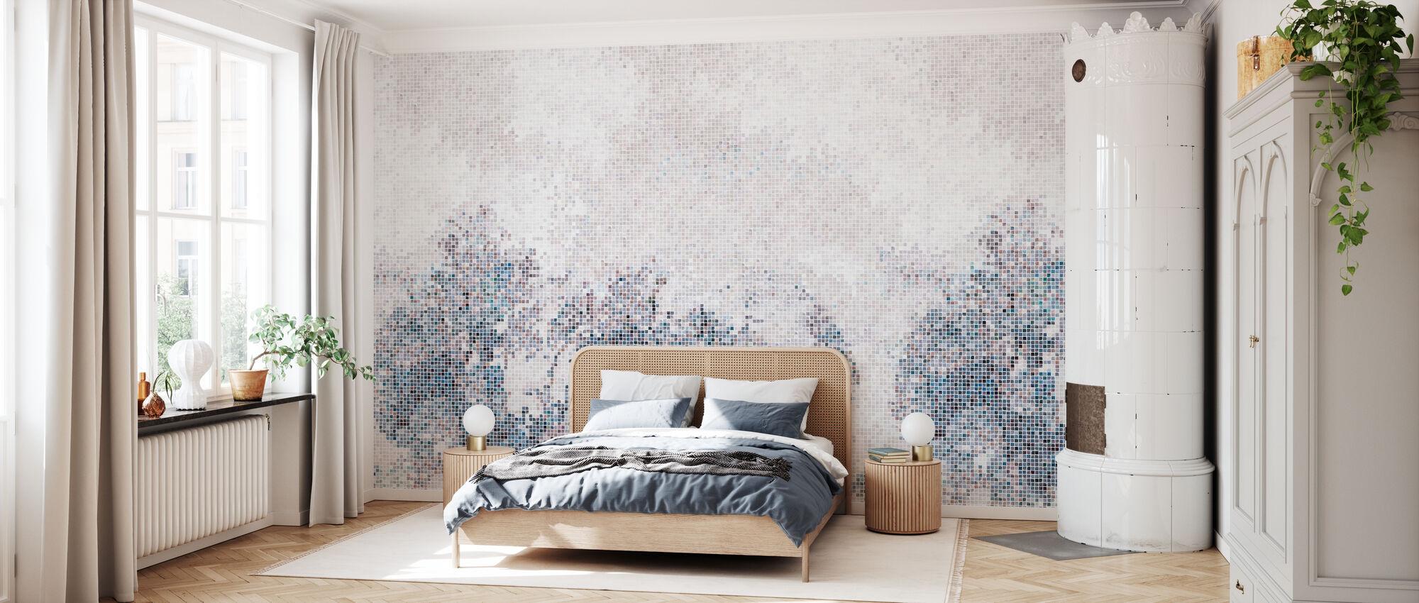 Mosaikk skog - Blå - Tapet - Soverom